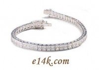 Solid 14k Gold 6 Carat Princess Cut CZ Cubic Zirconia Tennis Bracelet - Product Image