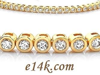 Solid 14k Gold 8 Carat Round Brilliant Cut Cubic Zirconia Bezel Set CZ Tennis Bracelet - Product Image