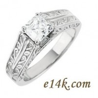 "Solid 14k Gold ""Any Shape Center Stone"" Antique Cathedral Style Hand Carved Engagement Ring    - Product Image"
