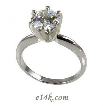 Solid 14k Gold Cz Cubic Zirconia 6 Prong Solitaire Engagement Ring