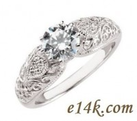 Solid 14k Gold Round Brilliant Antique Style Hand Engraved Engagement Ring    - Product Image