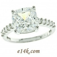 Solid .925 Sterling Silver 3.5ct Cushion Cut Basket style Engagement Ring  - Product Image