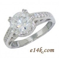 Solid .925 Sterling Silver Round Brilliant 'Bouquet' Engagement Ring  - Product Image