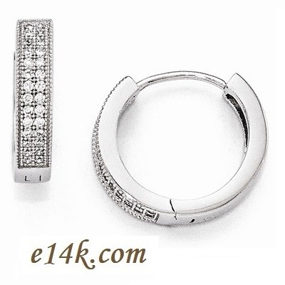 Solid Sterling Silver Antique Style Round Brilliant CZ Pave' Set Cubic Zirconia Hoop Earrings - Product Image