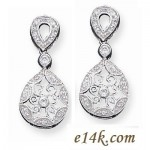 Solid Sterling Silver Antique Victorian Style Round Brilliant CZ Cubic Zirconia Dangle Earrings - Product Image