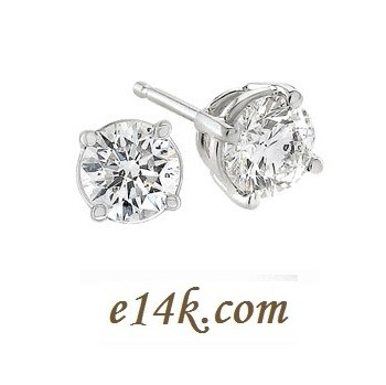 Solid Sterling Silver CZ Studs Classic Basket Style Round Brilliant Cubic Zirconia Stud Earrings - Product Image