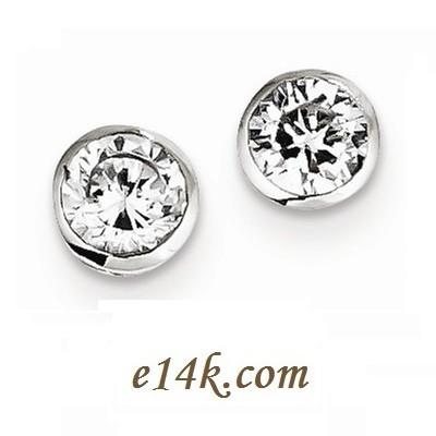 Solid Sterling Silver Round Brilliant CZ Studs Bezel Set Round Brilliant Cubic Zirconia Stud Earrings - Product Image
