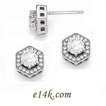 Solid Sterling Silver Round Brilliant CZ Studs Halo Round Brilliant Cubic Zirconia Stud Earrings - Product Image