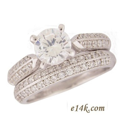 Sterling Silver 1 carat center CZ Cubic Zirconia Pave' Round Brilliant Side Stones Wedding Engagement Ring  - Product Image
