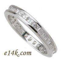 Sterling Silver 1.50 cttw Princess Cut Cubic Zirconia Channel Set CZ Eternity Band - Product Image