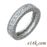 Sterling Silver 1.50 cttw Round Brilliant Cubic Zirconia Antique Style Eternity Band - Product Image