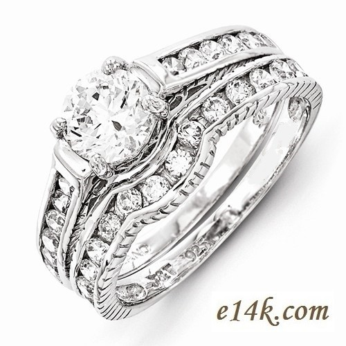 Sterling Silver 1 75cttw Fancy Antique Estate Style Cz Interlocking Engagement Ring Wedding Band