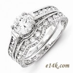 Sterling Silver 1.75cttw Fancy Antique Estate Style CZ Interlocking Engagement Ring & Wedding Band - Product Image