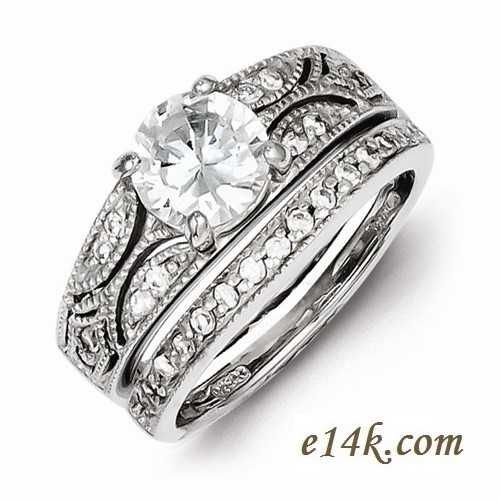 Sterling Silver 2.00cttw Fancy Antique Estate Style CZ Cubic Zirconia Engagement Ring & Wedding Band - Product Image