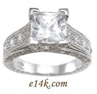 Sterling Silver 2.25 cttw Princess Cut Cubic Zirconia Ring w/ Pinpoint Accent Stones - Product Image