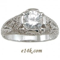 Sterling Silver 2ct total Fancy Antique Edwardian Style Pave' Set CZ Cubic Zirconia Ring - Product Image