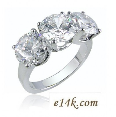 Sterling Silver 3 - 1ct Round Brilliant 3cttw CZ/Cubic Zirconia 3 Stone Anniversary Ring - Product Image