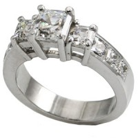 Sterling Silver 3 Stone Asscher Cut CZ/Cubic Zirconia Anniversary Ring - Product Image