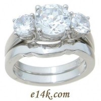 Sterling Silver 3 cttw Round Brilliant CZ Lucern Three Stone Ring Matching Fitted band!  - Product Image