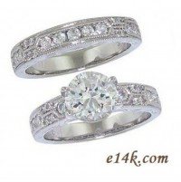 Sterling Silver 3.00cttw Fancy Antique Inspired Art Deco CZ Cubic Zirconia Engagement Ring & Wedding Band - Product Image