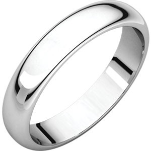 Sterling Silver 3mm Half Round Wedding Band Ring - Product Image