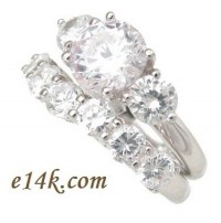 Sterling Silver 4cttw Round Brilliant Cut Russian CZ Three Stone Engagement Ring & Wedding Band - Product Image