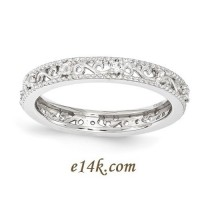 Sterling Silver Antique Cubic Zirconia Filigree Vine Eternity Ring - Product Image