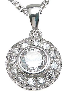 Sterling Silver Antique Style Bezel/Pave' Set Russian CZ Cubic Zirconia Circle Pendant - Product Image
