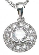 Sterling Silver Antique Style Bezel/Pave' Set Russian CZ Cubic Zirconia Circle Pendant - Product Image