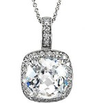 Sterling Silver Antique Style Checkerboard Cushion Cut Halo Style Pendant w/ Chain - Product Image