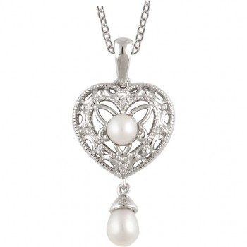 Sterling Silver Antique Style Pearl & Diamond Heart Dangle Pendant w/ Chain - Product Image
