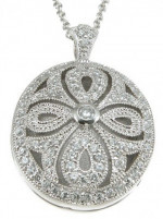 Sterling Silver Antique Vintage Style Pave' Set Russian CZ Cubic Zirconia Circle Locket  - Product Image