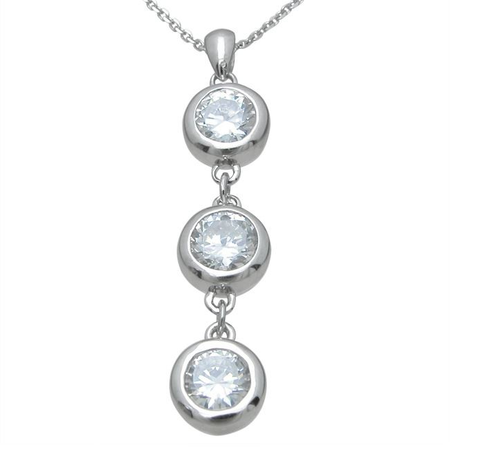 Sterling Silver Bezel  Russian CZ Cubic Zirconia Dangle Pendant w/ Chain - Product Image
