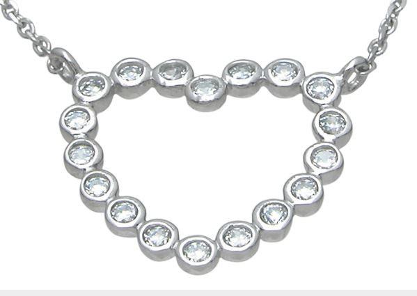 Sterling Silver Bezel Set Russian CZ Cubic Zirconia Heart Pendant w/ Chain - Product Image