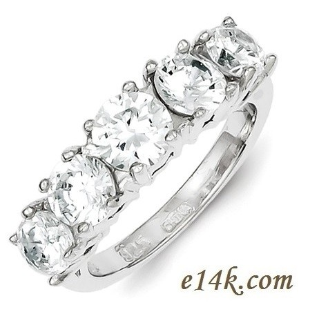 Sterling Silver 5 Stone Russian CZ Wedding Anniversary Band Ring - Product Image