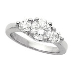 Traditional Sterling Silver Cubic Zirconia CZ 3 stone Wedding Ring  - Product Image