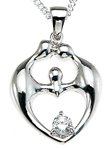 Sterling Silver 'Family' Russian CZ Cubic Zirconia Pendant w/ Chain - Product Image