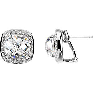 Sterling Silver Halo Round Brilliant Cut Russian CZ Stud Earrings *New item* - Product Image