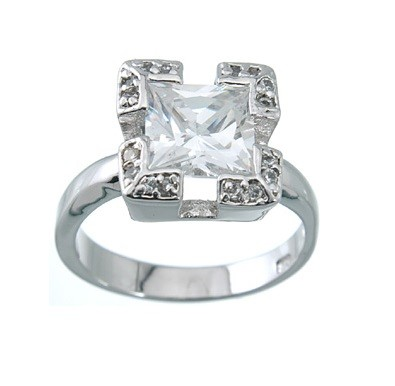 Sterling Silver Halo Style 2.50 cttw Princess & Round CZ Cubic Zirconia Engagement Ring - Product Image