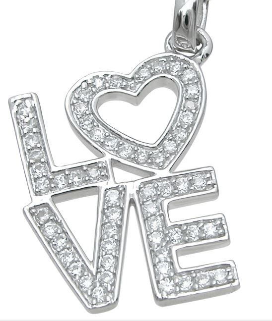 Sterling Silver Love Russian CZ Cubic Zirconia Pendant w/ Chain - Product Image