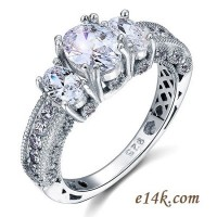 Sterling Silver 3.25cttw Oval Antique Inspired Three Stone Engagement Ring - Product Image