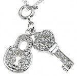 Sterling Silver Pave' Set  Round Brilliant CZs Lock & Key Pendant w/ Chain - Product Image