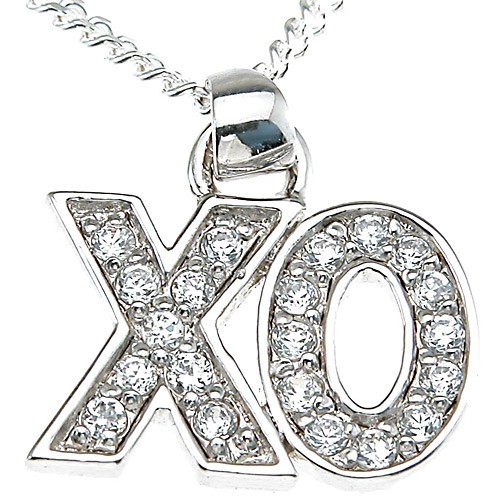 Sterling Silver Pave' Set Russian CZ Cubic Zirconia XO Pendant w/ Chain - Product Image