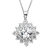 Sterling Silver Princess & Round Brilliant Halo Style Pendant w/ Chain - Product Image