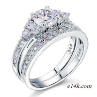 Sterling Silver Round Brilliant Antique Inspired Engagement ring with Matching Wedding Band - Product Image