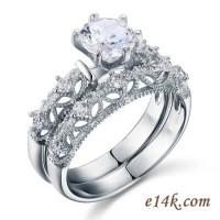 Sterling Silver Round Brilliant Antique Inspired Filigree Engagement ring with Matching Wedding Band - Product Image