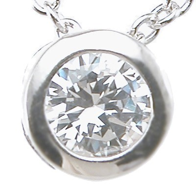 Sterling Silver Round Brilliant Bezel Set Russian CZ Cubic Zirconia Solitaire Pendant w/ Chain - Product Image