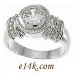 Sterling Silver Round Brilliant Cut Russian Bezel Set CZ Engagement Ring - Product Image