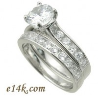 Sterling Silver Round Brilliant Cut Russian CZ Stone Engagement Ring & Wedding Band - Product Image