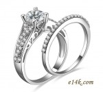 """Sterling Silver Round Brilliant """"Endless Love"""" CZ Engagement ring with Matching Wedding Band - Product Image"""